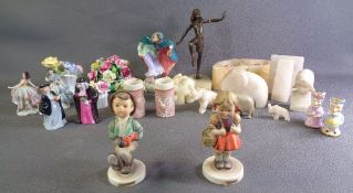 ROYAL DOULTON 'WINTER' HN2088 figurine, Goebel/Hummel 'School Girl' and 'Globetrotter', china