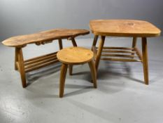 COFFEE TABLE - near square, light wood on four corner supports, 51cms H, 65cms W, 59cms D, a