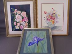 J E HEWITT mixed media, three - still life, 39.5 x 29.5cms, typical size and three other paintings