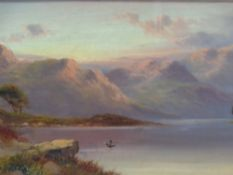 JOEL OWEN oil on canvas - duck in flight above a river with mountains to the background, 19 x