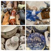 SZEILER, DELFT, ADAMS and other blue and white china, also good collection of dog ornaments and a