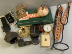 COLLECTABLES - Angelus mantel clock, old Bible, other vintage items including camera, Toshiba