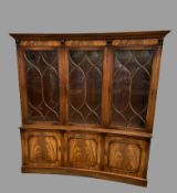 CONCAVE BOOKCASE CUPBOARD - reproduction with three glazed doors to the upper section and adjustable