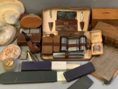 VINTAGE ASSORTMENT - Gent's vanity cases, treen collection boxes, shells, cased Ronson lighter,