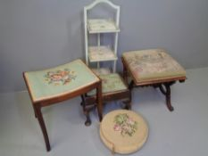 TAPESTRY TOPPED FOOTSTOOL - 19th Century 'X' frame, 48cms H, 44cms W, 44cms D, three other