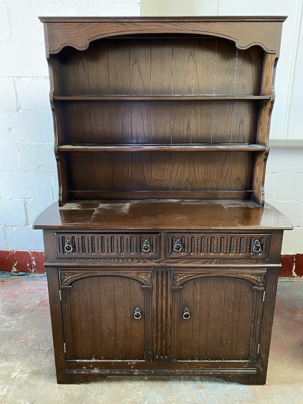 LINENFOLD STYLE DRESSER - a two shelf rack and a two drawer over two door base, 178cms H, 121cms - Image 2 of 5