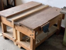 LONG WOODEN BENCH (in 2 sections) with bench vice, 84cms H, 150cms W, 130cms D
