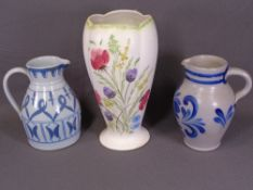 RADFORD floral painted vase, 31cms H, a 'Buchan of Scotland' stoneware jug and a similar German