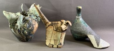 THREE UNUSUAL ART POTTERY PIECES - a humorous looking standing dog, a large dove and a circular bowl