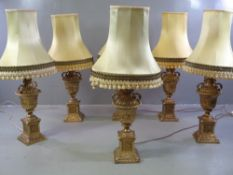 ORNATE TABLE LAMPS - six similar brass effect antique style, 64cms H (to the light bulb holder)