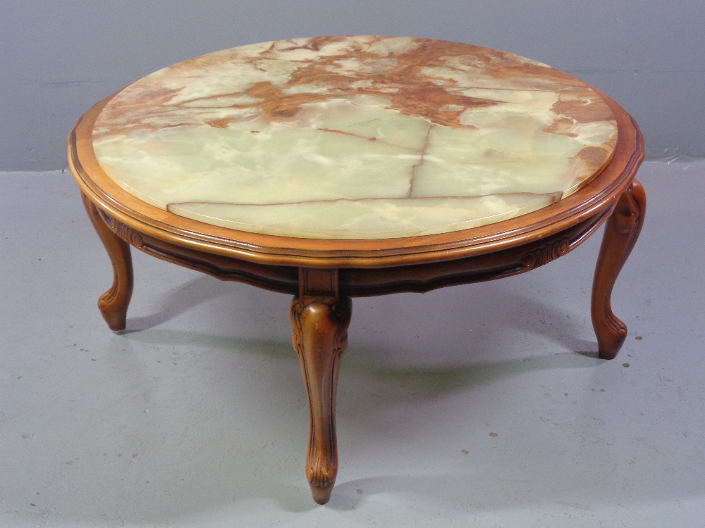 COFFEE TABLE - circular onyx topped, reproduction on shaped supports, 44cms H, 92cms diameter