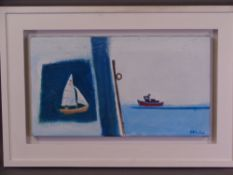 PHILLIP HICKS (b. 1928) oil on canvas - titled 'Coming into Harbour', signed right hand side, 25 x