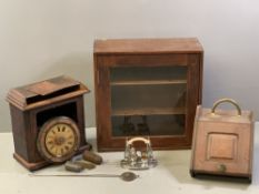 VINTAGE WALL CLOCK with pendulum and weights, single glazed door shelved cupboard, hinged front
