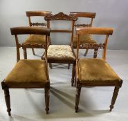 DINING CHAIRS - set of four Victorian mahogany with sabre backs and a dining chair with tapestry