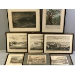 SET OF THREE EARLY 18th CENTURY BLACK & WHITE PRINTS after BOYDELL - 1. 'A West Prospect of Conwy