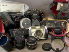 CAMERA EQUIPMENT - Balda Matic-Prontormat cased camera, Ricoh XR7 camera, vintage Kodak camera,