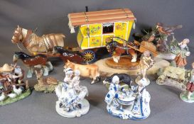 DRAY HORSE WITH TRADITIONAL TOWING CARAVAN, other ornamental horses, a Border Fine Arts deer ETC,