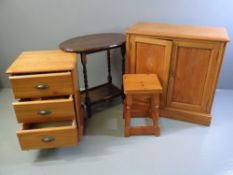 FURNITURE ASSORTMENT (four pieces) - two door oak cupboard, 77cms H, 80cms W, 40cms D, modern narrow