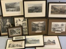 PARCEL OF BLACK & WHITE & COLOURED PRINTS - mainly North Wales related, various sizes (foxing