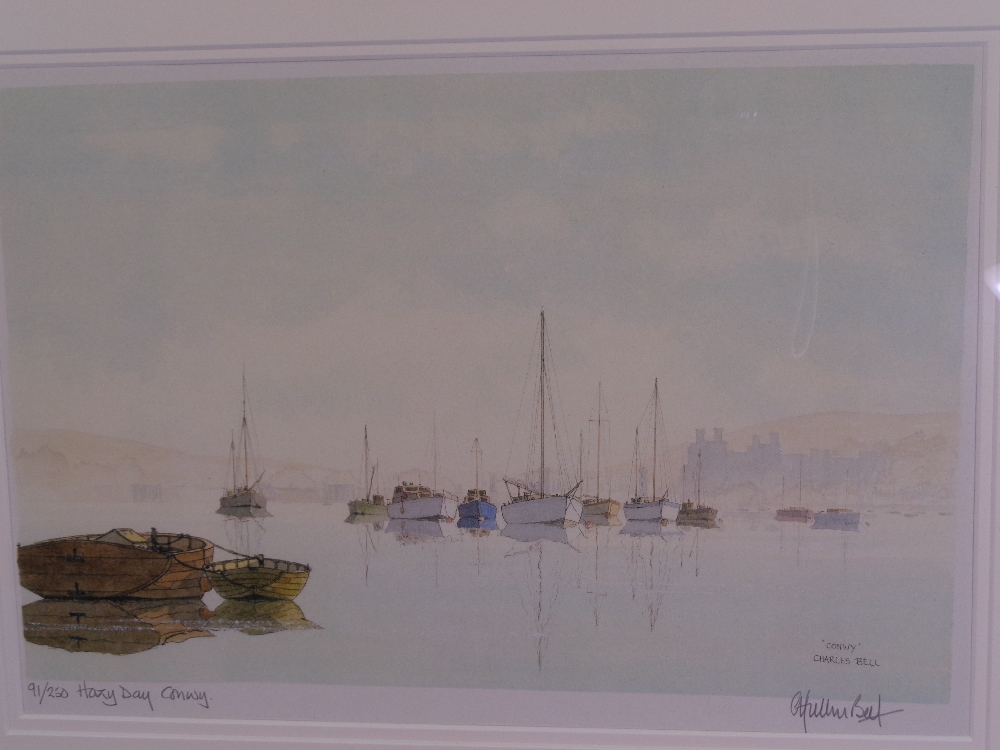 CHARLES BELL limited edition (91/250) and (37/250) prints, a pair - titled 'Brown Sails, Conwy' - Image 3 of 5