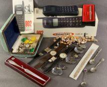 G S M ORBITAL POCKET PHONE 902 in a box, commemorative spoons, wristwatches, costume jewellery ETC
