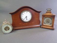 CLOCKS - mahogany mantel clock, 19cms H, 25.5cms W, 8cms D, a French mantel clock and a tabletop