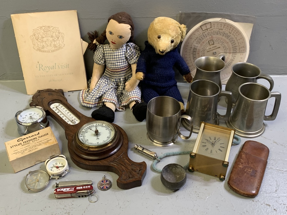 CARVED BALLOON BAROMETER, pewter tankards, assortment of clocks and eclectic items and