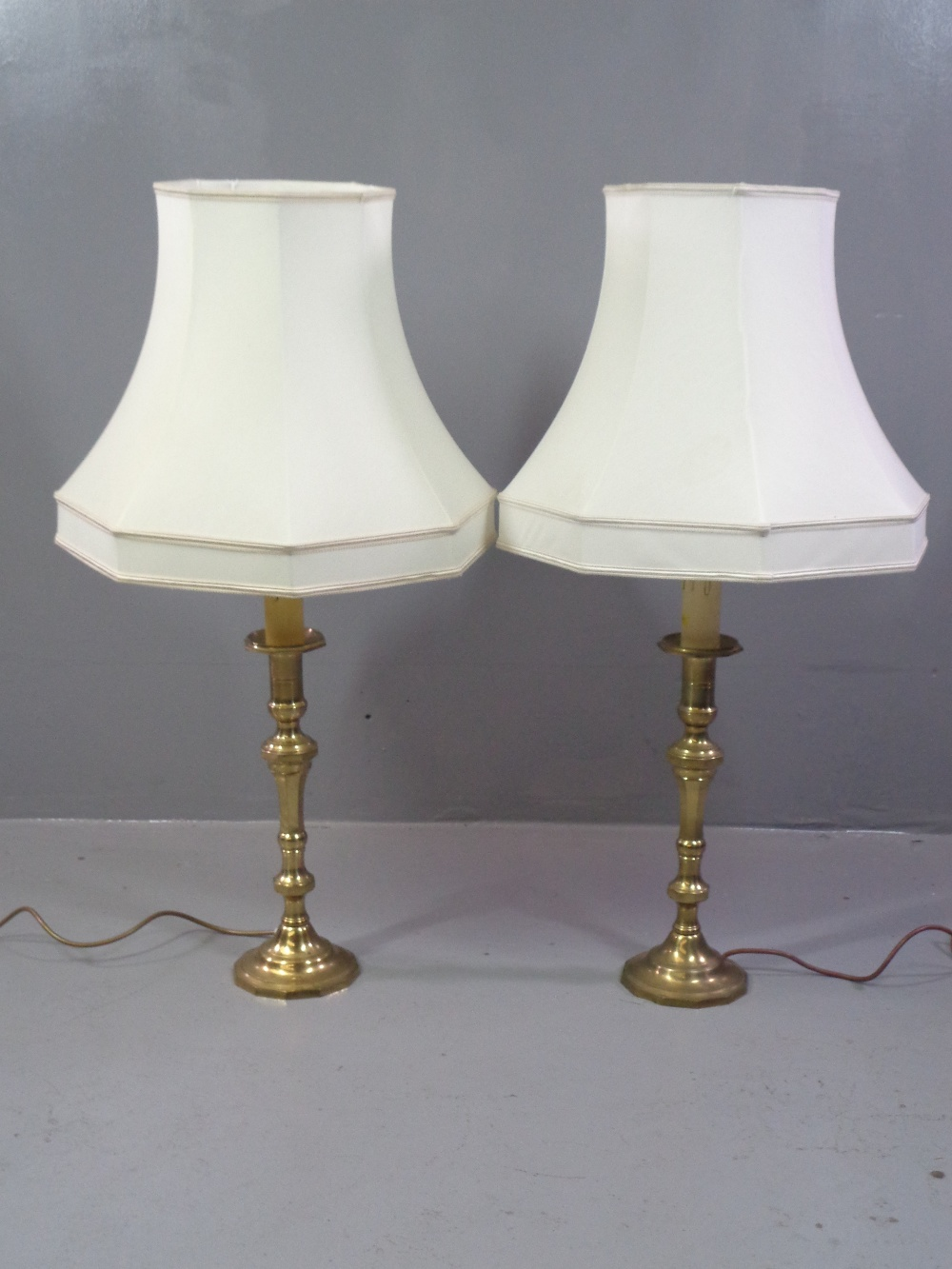 ORNATE TABLES LAMPS - five, three matching brass effect, 67cms H (with shades) and a pair of similar - Image 2 of 2