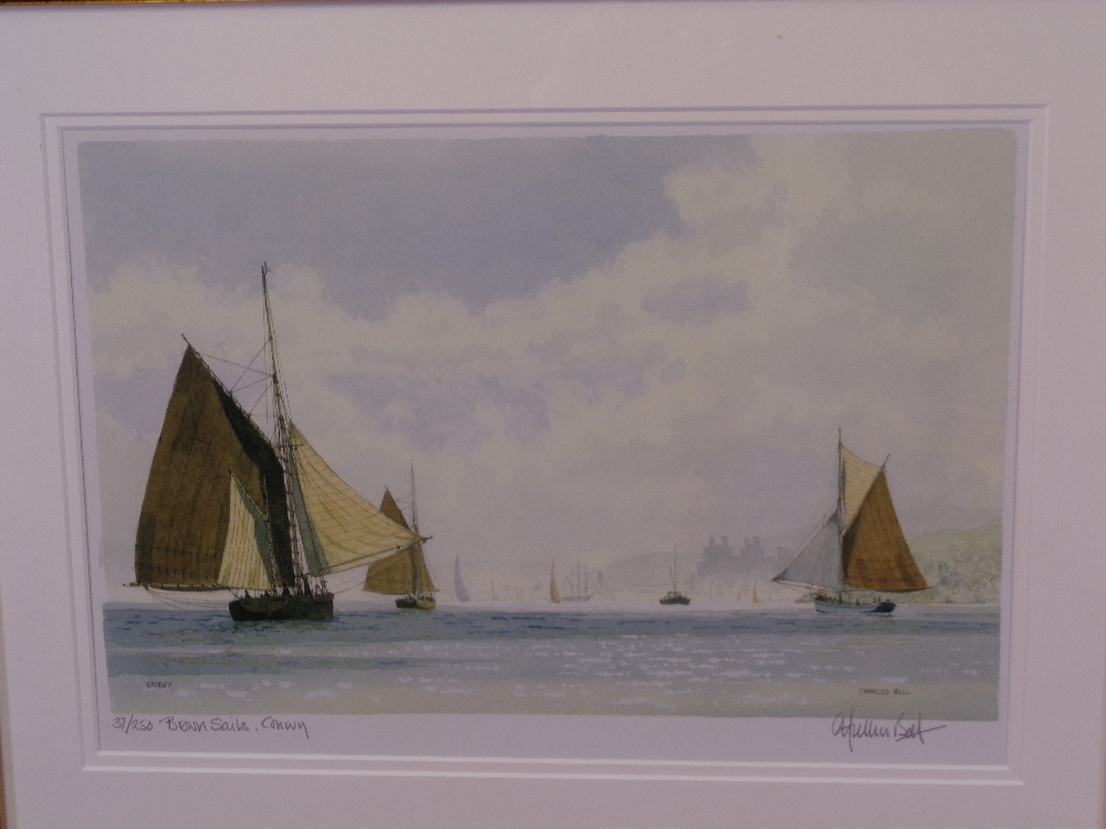 CHARLES BELL limited edition (91/250) and (37/250) prints, a pair - titled 'Brown Sails, Conwy' - Image 2 of 5