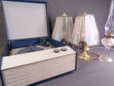 PICNIC GRAMOPHONE - mid Century and a quantity of ornate table/oil lamps