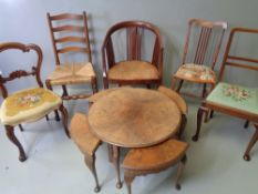 FURNITURE ASSORTMENT - five assorted antique chairs and a burr walnut circular nest of tables, 68cms