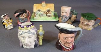 ROYAL DOULTON CHARACTER JUGS - 'Queen Victoria' 11cms H, 'George Tinworth', 'Henry VIII' (2), '