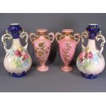 STAFFORDSHIRE VASES, two pairs of floral decorated, 34 & 39cms H