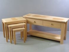 MODERN LIGHT WOOD TABLES - set of three and a similar short console table with two drawers and lower