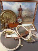 BAROMETER, brassware, Regent vintage dressing tableware, print after PRUDENCE TURNER and a Welsh