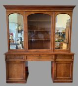 SECRETAIRE BOOKCASE - late Victorian mahogany and of very large proportions, the upper section