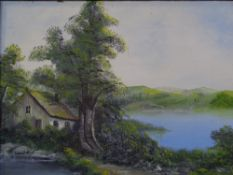 OIL ON BOARD - whitewashed cottage by a lakeside, unsigned, 29 x 39cms and an assortment of other