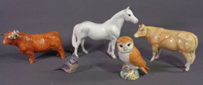 BESWICK DAPPLED GREY HORSE, Beswick barn owl, unmarked cow and bull figure ornaments and a