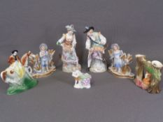 DRESDEN - a pair of farm worker boy and girl figures, 21cms H and other ornaments