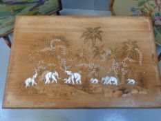 LONG JOHN COFFEE TABLE with inlaid top depicting elephants and palm trees, 39cms H, 76cms W, 50cms D