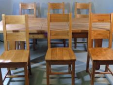 MODERN DINING TABLE & SIX CHAIRS - excellent chunky oak extending (leaf within) example, 79cms H,