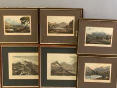 SIX COLOURED ENGRAVED PRINTS - North Wales scenery