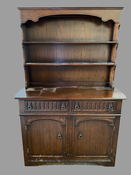 LINENFOLD STYLE DRESSER - a two shelf rack and a two drawer over two door base, 178cms H, 121cms