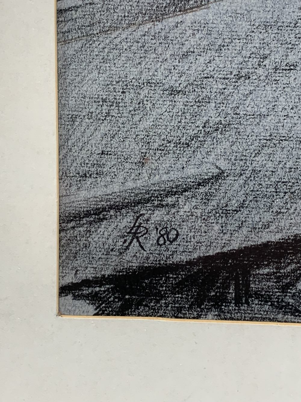LEONARD RENTON charcoal - boats and river with distant church, initialled and dated 1980, 45 x - Image 2 of 2