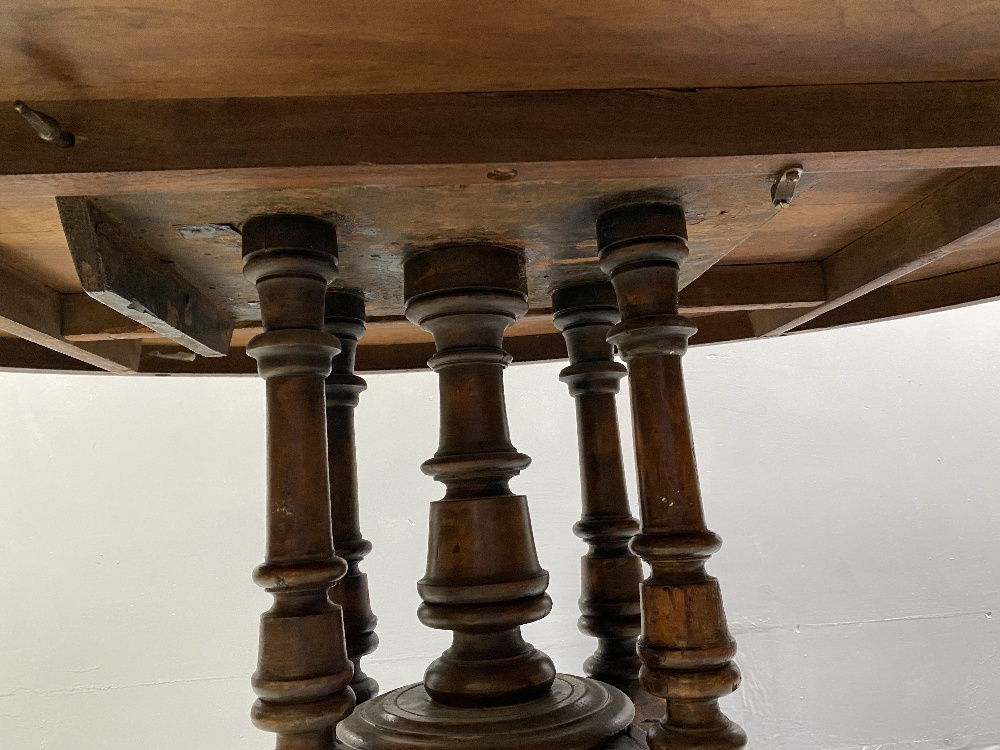 OVAL DINING TABLE - Edwardian mahogany with line and diamond multi-wood inlay band, on four turned - Image 3 of 4