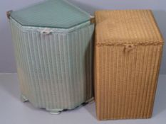 LUSTY LLOYD LOOM gold coloured, square topped linen basket, 54cms H, 32cms W, 32cms D and another