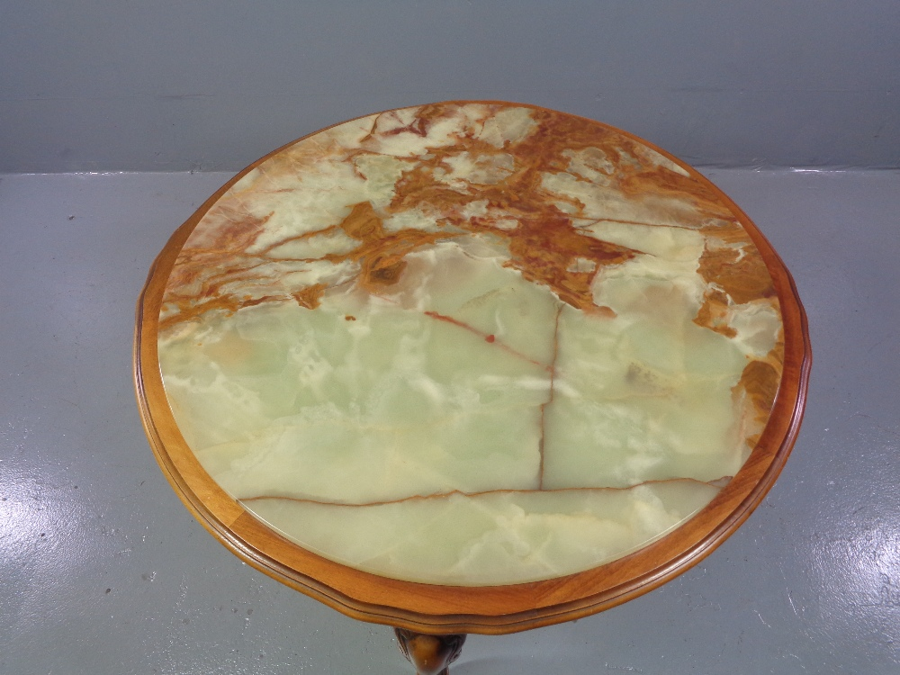 COFFEE TABLE - circular onyx topped, reproduction on shaped supports, 44cms H, 92cms diameter - Image 2 of 2