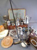 WALKING STICK - silver collared, bone handled, Ilford Sporti vintage cased camera, alabaster