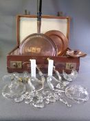 VINTAGE OLD SUITCASE, 'J S & S' copper candleholder, copper long handled warming pan, quantity of