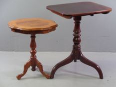 OCCASIONAL TABLES - mahogany tilt top on turned and tripod support, 75cms H, 60cms W, 48cms D and